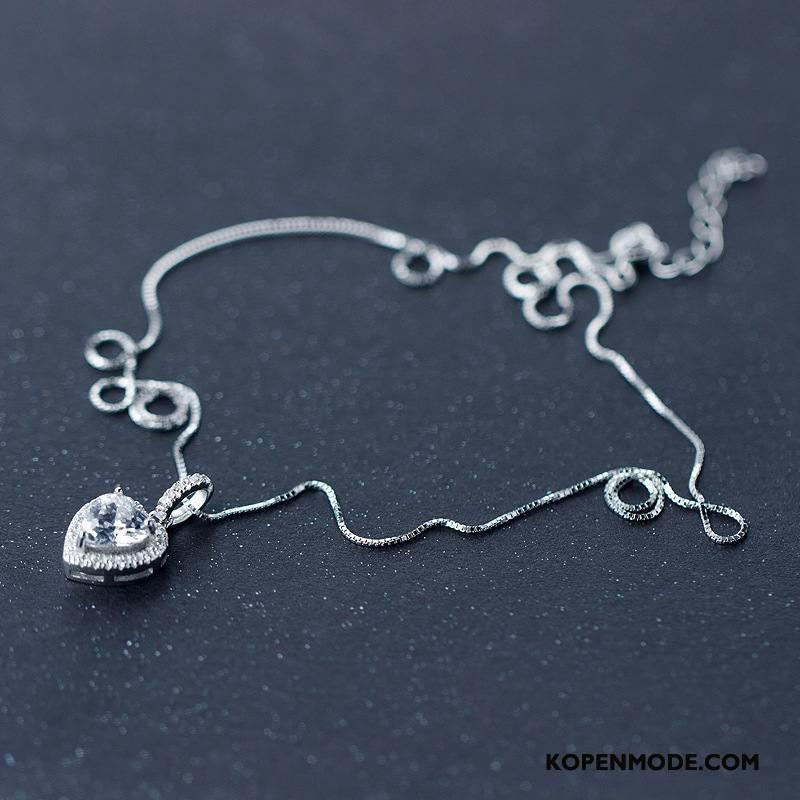 Zilveren Sieraden Dames Mode Accessoires Zoet Korte Nieuw Liefde