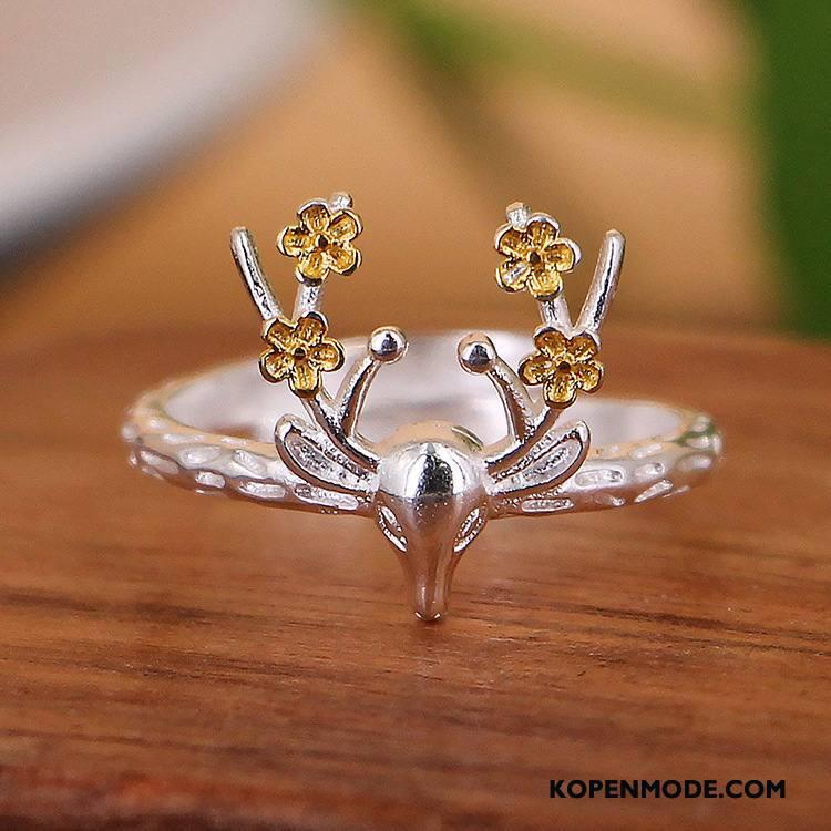 Zilveren Sieraden Dames Nieuw Bloemen Accessoires Modellering Zilver Wit Gouden