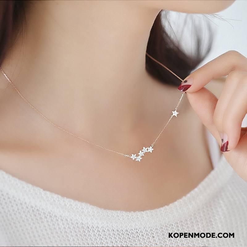 Zilveren Sieraden Dames Student Vrouwen Korte Accessoires Eenvoudig Zilver