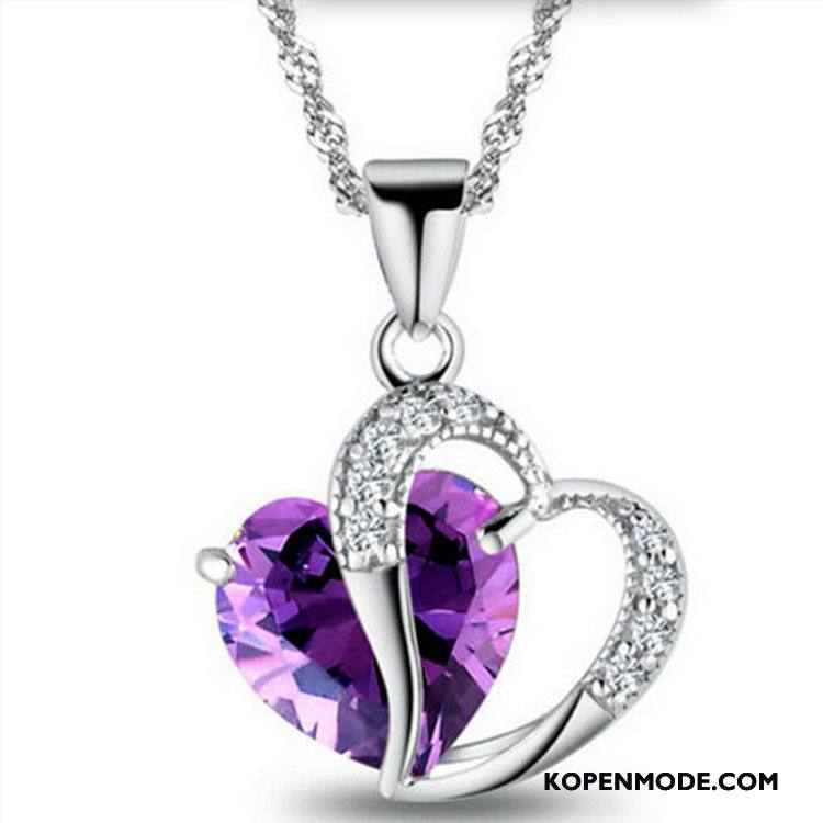 Zilveren Sieraden Dames Trui Nieuw Hart Accessoires Kristal Paars Zilver