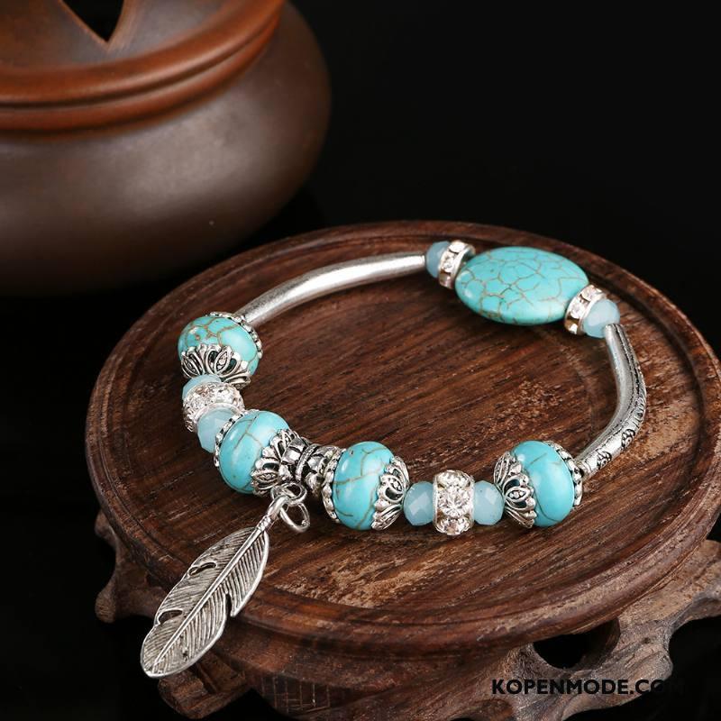 Zilveren Sieraden Dames Vintage Etnische Vrouwen Accessoires Armbanden Zilver Groen