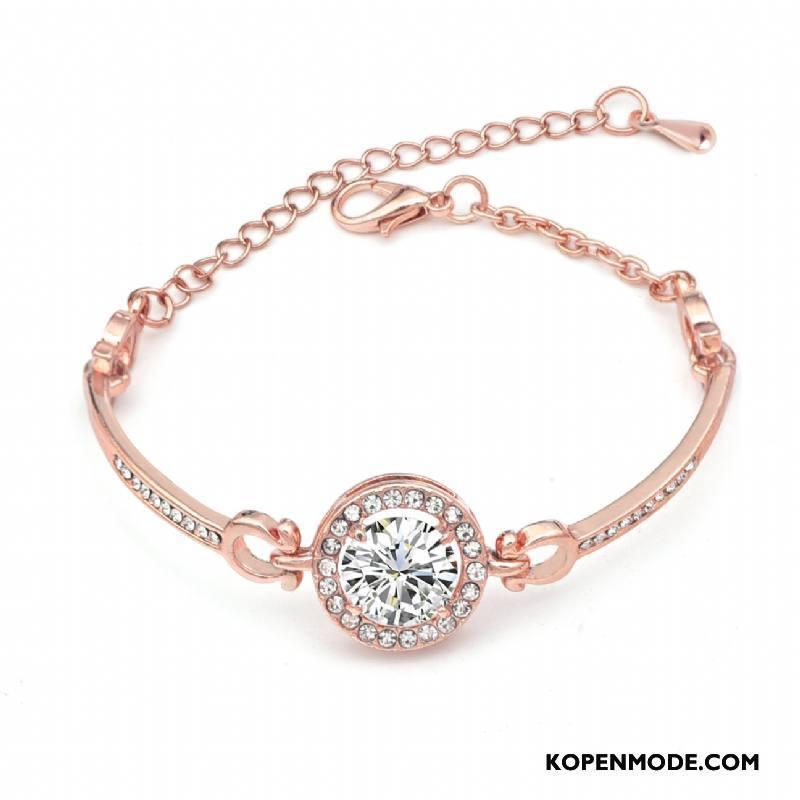 Zilveren Sieraden Dames Vrouwen Eenvoudig Armbanden Populair Nieuw Kristal Roze Goud
