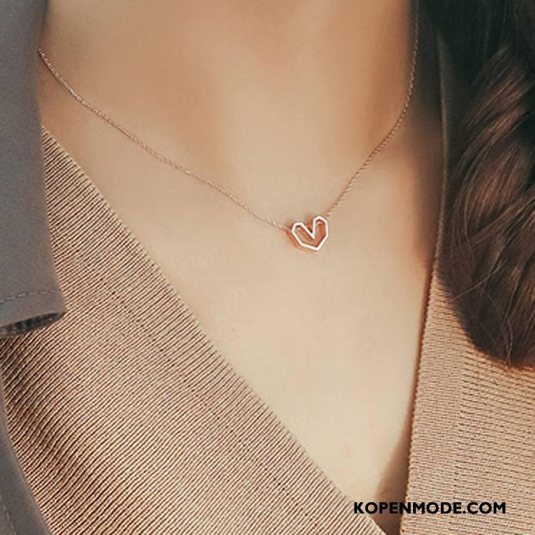 Zilveren Sieraden Dames Vrouwen Liefde Hart Eenvoudig Accessoires Roze Zilver Gouden