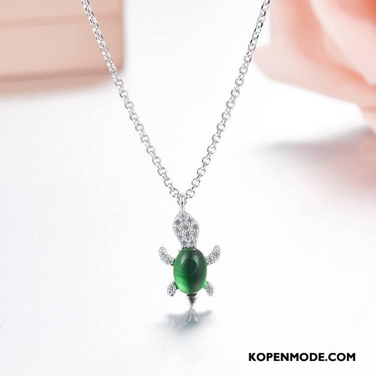 Zilveren Sieraden Dames Zuiver Elegante Europa Persoonlijkheid Mode Alle Wedstrijden Zilver Groen