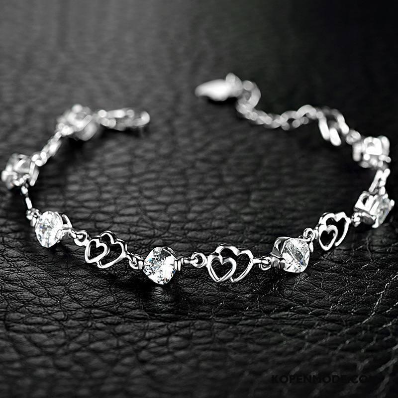 Zilveren Sieraden Dames Zuiver Geschenk Kristal Hart Accessoires Vrouwen Purper Zilver Wit