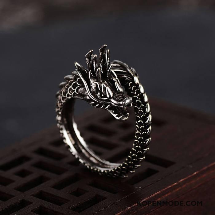 Zilveren Sieraden Heren Accessoires Vintage Dragon Patroon Mannen Trend Persoonlijkheid Zilver Zwart