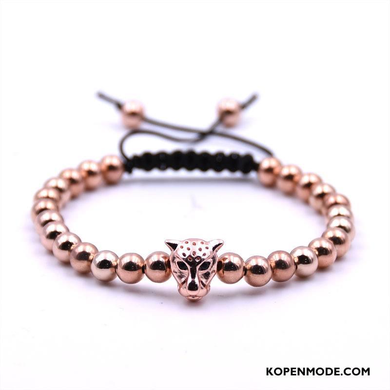 Zilveren Sieraden Heren Accessoires Weven Met De Hand Mannen Armbanden Roze Goud