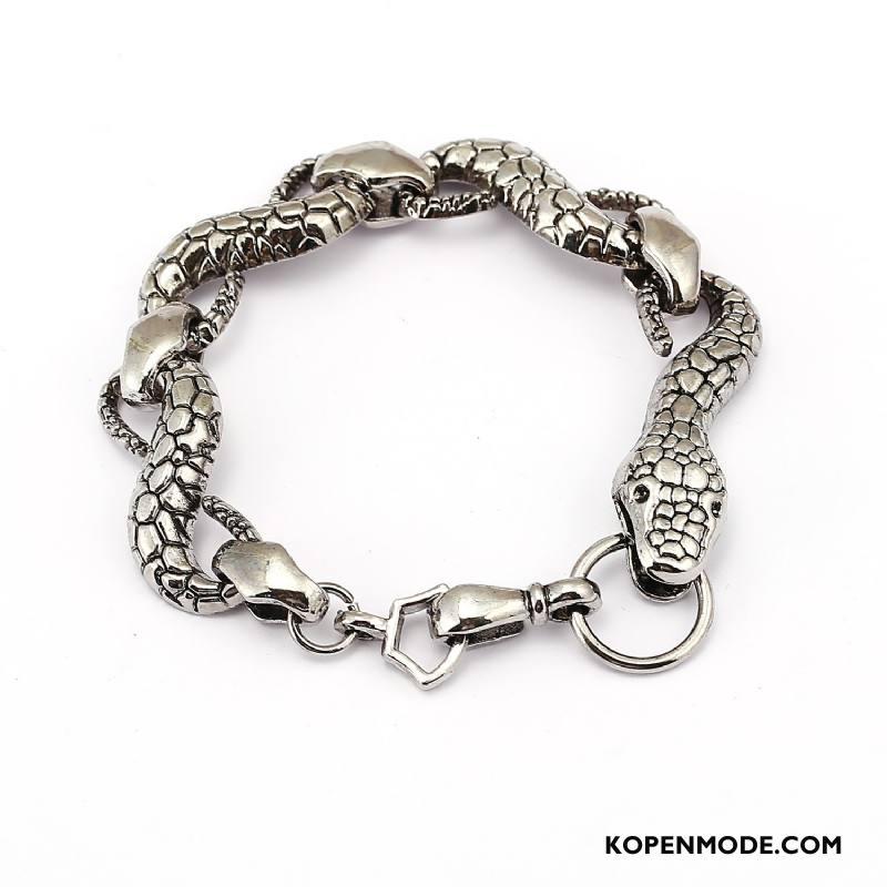 Zilveren Sieraden Heren Armbanden Accessoires Europa Mannen Persoonlijkheid Stijl Zilver Gouden