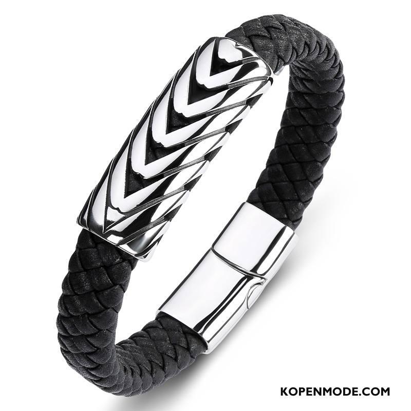 Zilveren Sieraden Heren Armbanden Eenvoudig Mannen Leer Zilver Zwart