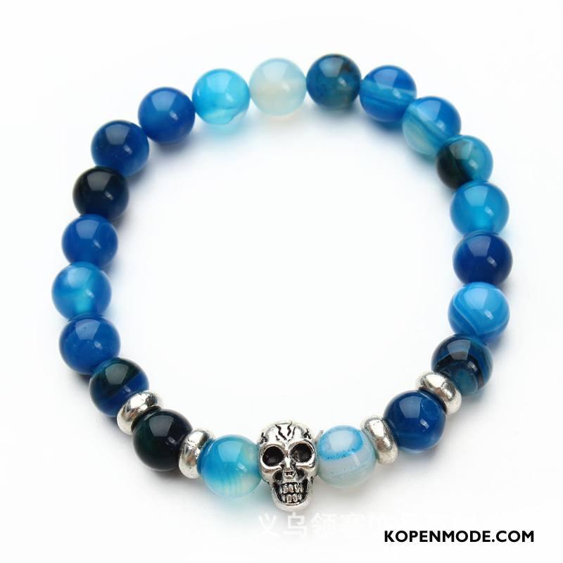 Zilveren Sieraden Heren Armbanden Mannen Heet Schedel Blauw Zilver Zwart