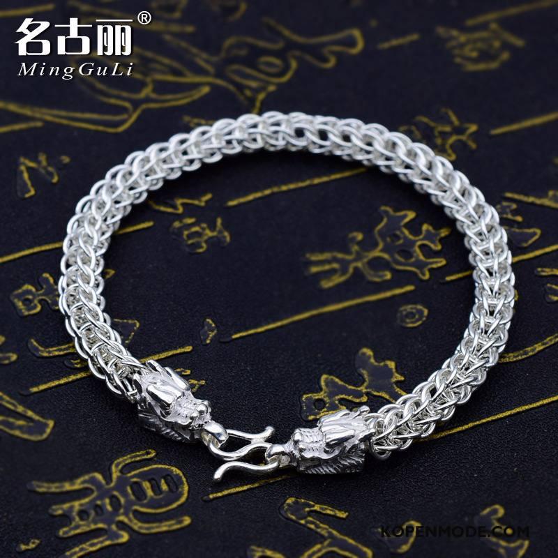 Zilveren Sieraden Heren Dragon Patroon Persoonlijkheid Trend Mannen Armbanden Mode Zilver Wit