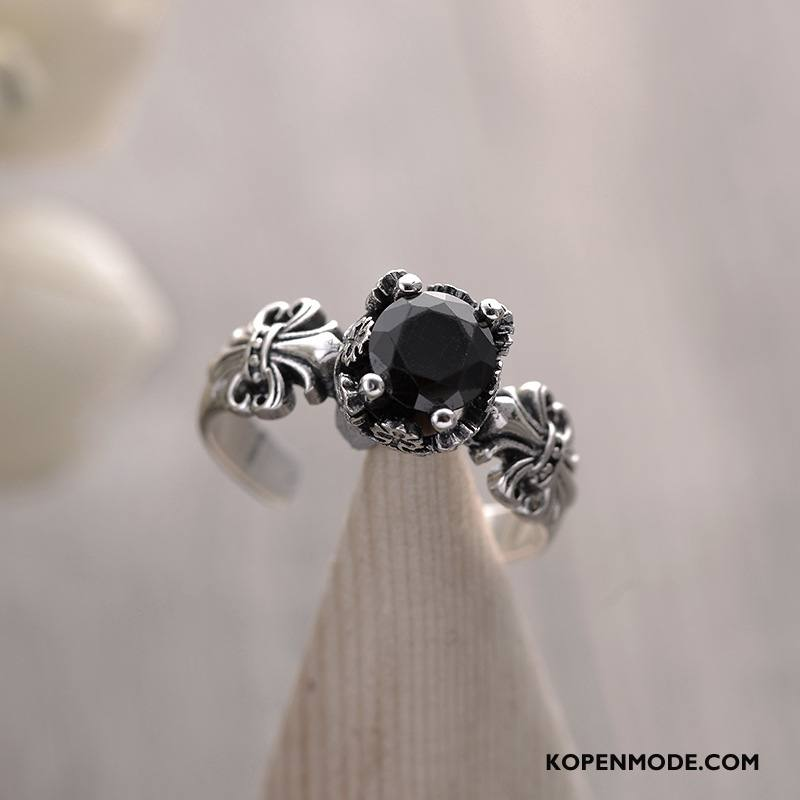Zilveren Sieraden Heren Dragon Patroon Vrouwen Mannen Zuiver Vintage Zilver Zwart