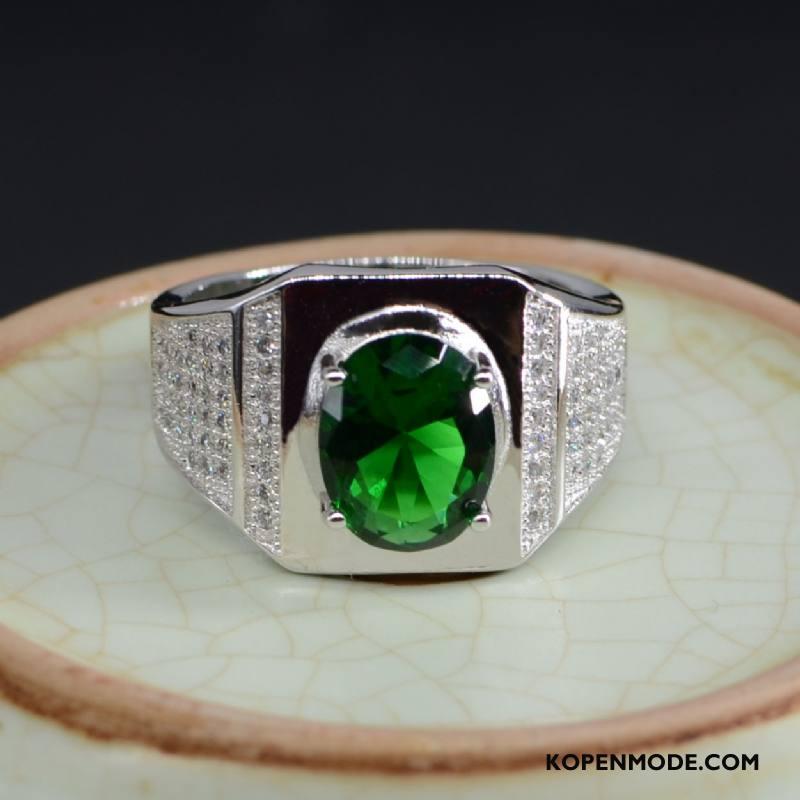 Zilveren Sieraden Heren Kleur Hart Mannen Kristal Zuiver Mode Blauw Zilver Groen