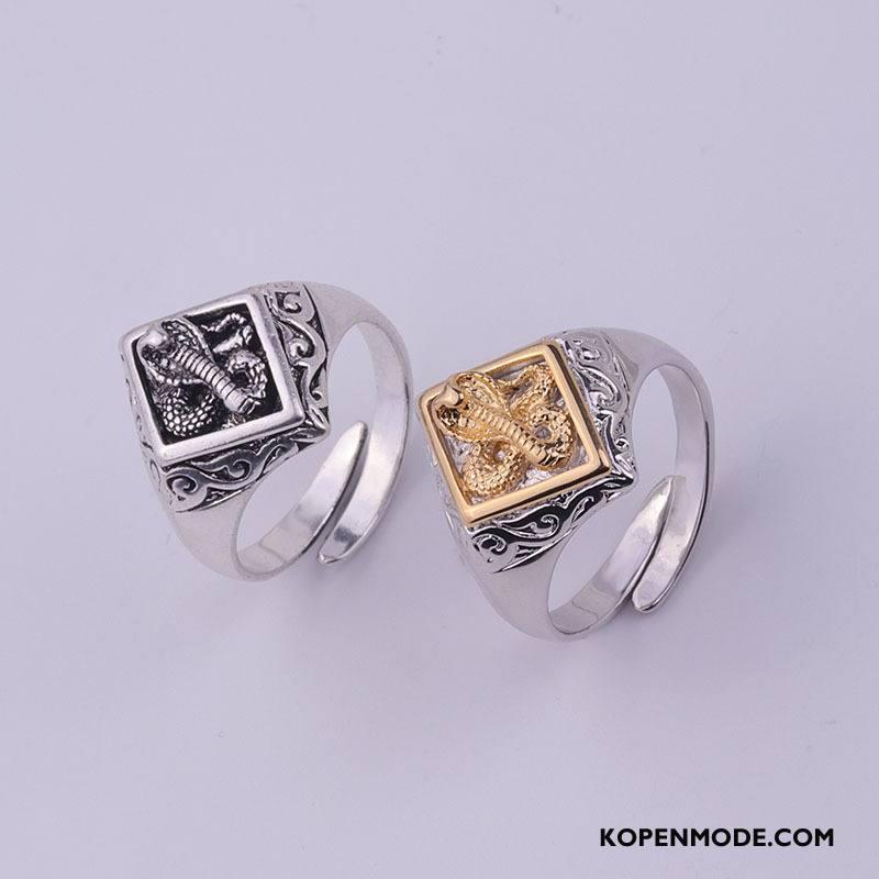 Zilveren Sieraden Heren Mannen Accessoires Twee Kleuren Persoonlijkheid Nieuw Scheppend Zilver Goud