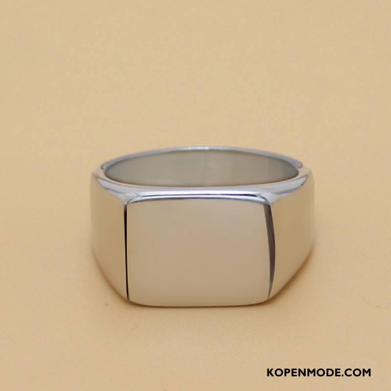 Zilveren Sieraden Heren Mannen Accessoires Vintage Vierkante Eenvoudig Zilver