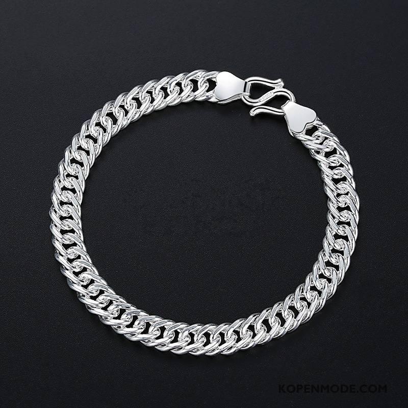 Zilveren Sieraden Heren Mannen Mode Accessoires Armbanden Met De Hand Persoonlijkheid Zilver