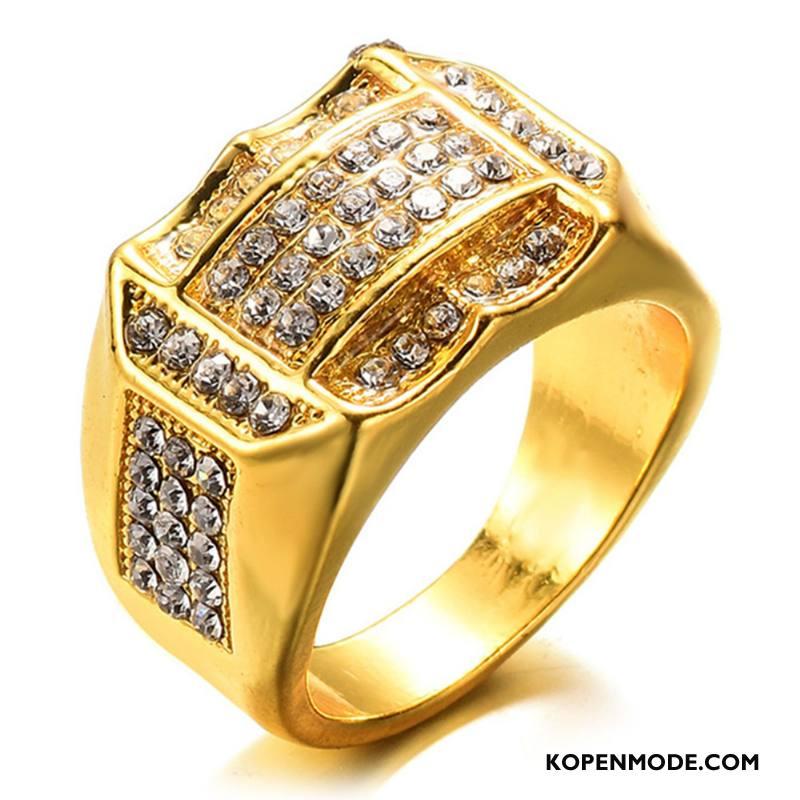 Zilveren Sieraden Heren Mannen Mode Strass Accessoires Goud