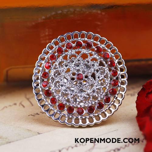 Zilveren Sieraden Heren Strass Europa Mannen Accessoires Verstelbaar Rondje Zilver Rood Gouden
