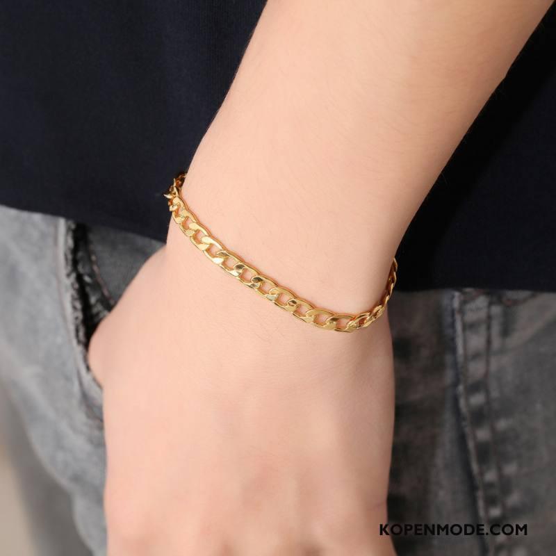 Zilveren Sieraden Heren Zuiver Armbanden Europa Mannen Zilver Geel Goud