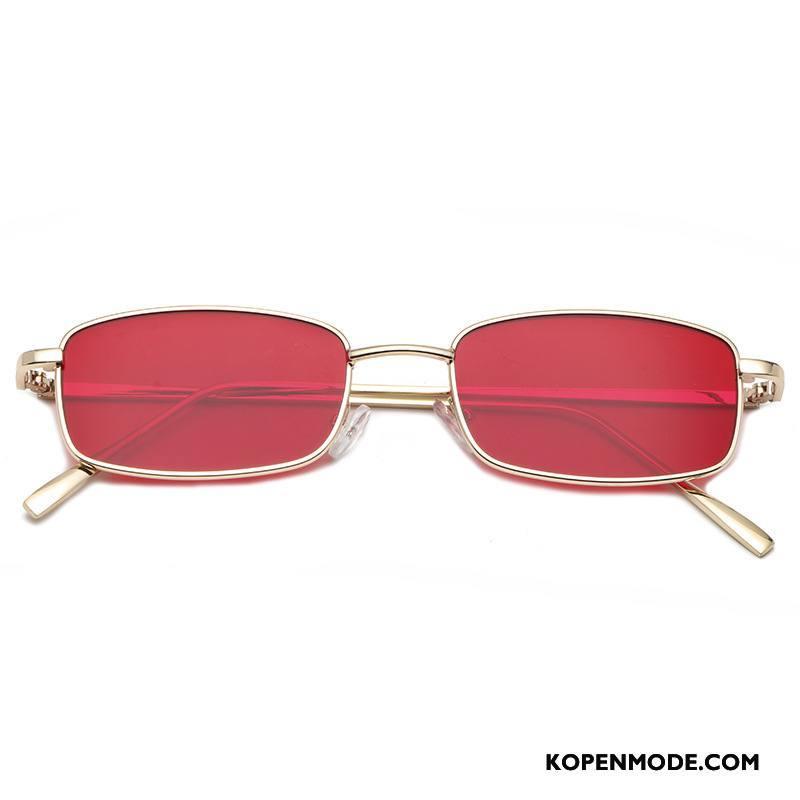Zonnebrillen Dames Persoonlijkheid Gekleurde Mannen Europa Mini Nieuw Rood Goud