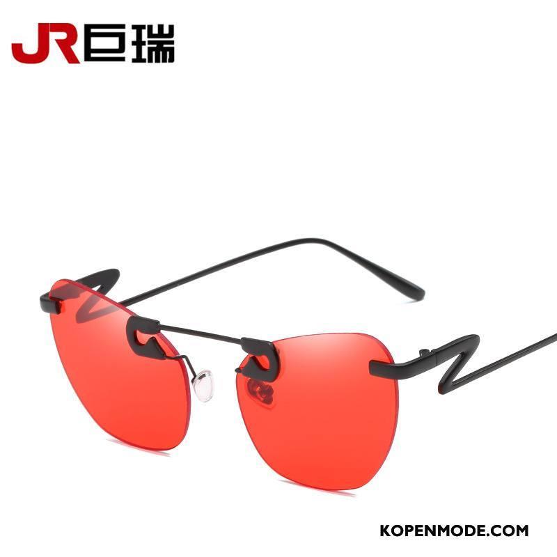 Zonnebrillen Dames Vrouwen Trend Nieuw Mode Decoratie Rood Gouden