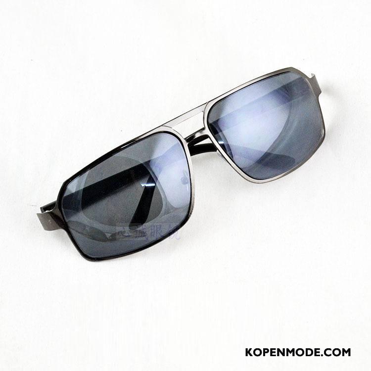 70db916540e3bb Zonnebrillen Heren Rond Gezicht Autorijden Vierkante Mannen Trend  Persoonlijkheid Zwart Grijs