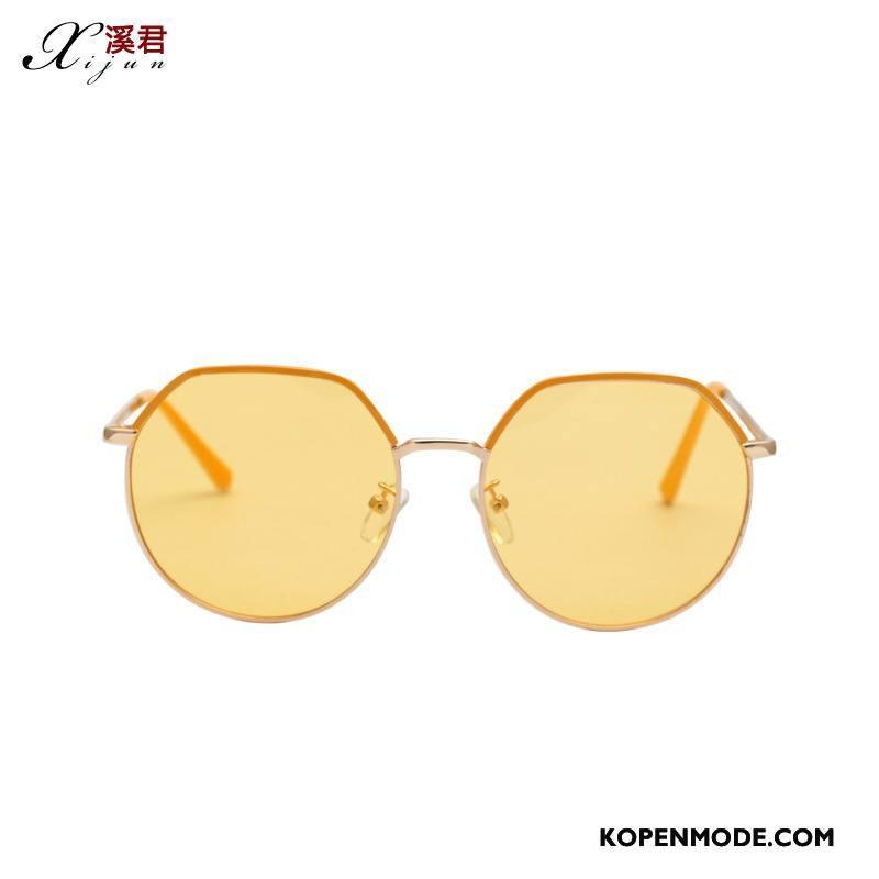 Zonnebrillen Heren Trend Europa Mannen Nieuw Eenvoudig Vintage Geel Goud