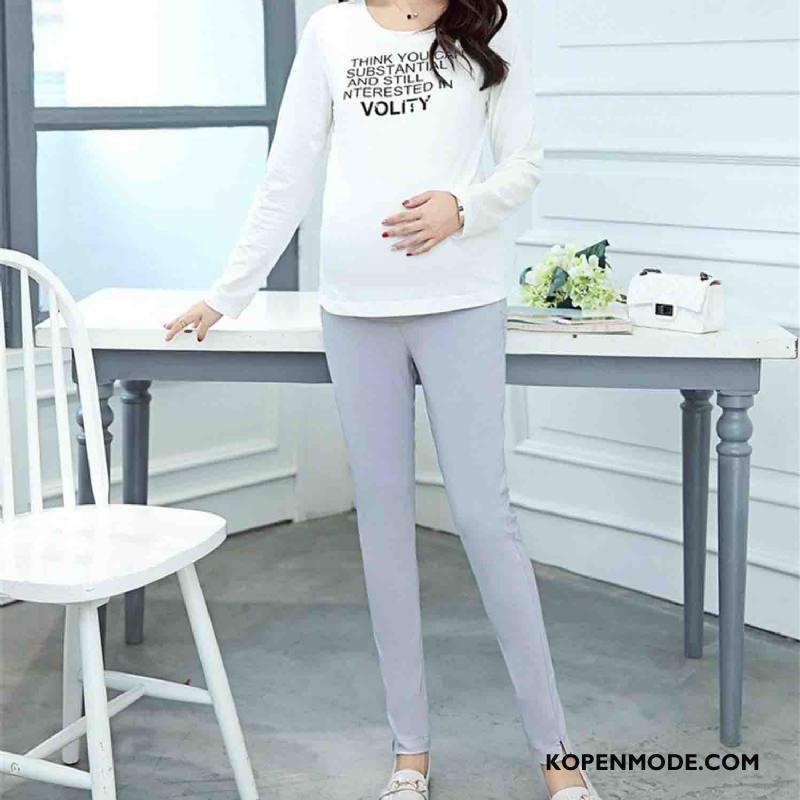 Zwangerschapskleding Dames 2018 Elegante Voorjaar Broek Dunne Katoen Grijs