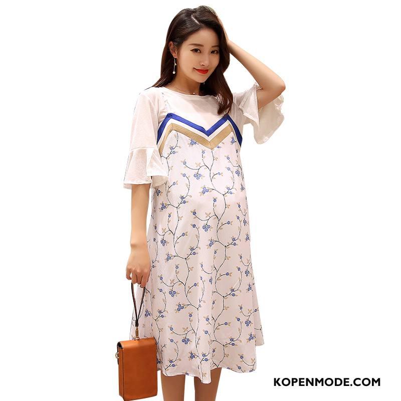 Zwangerschapskleding Dames 2018 Lang Slim Fit Elegante Mode Korte Mouw Wit