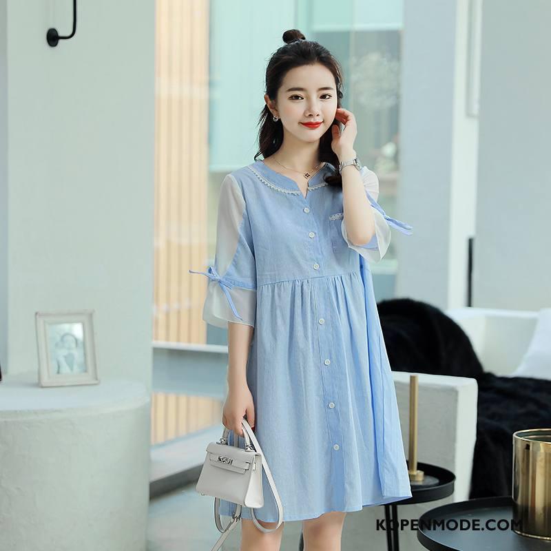 Zwangerschapskleding Dames Casual Mode Voorjaar Trend Eenvoudige Slim Fit Blauw