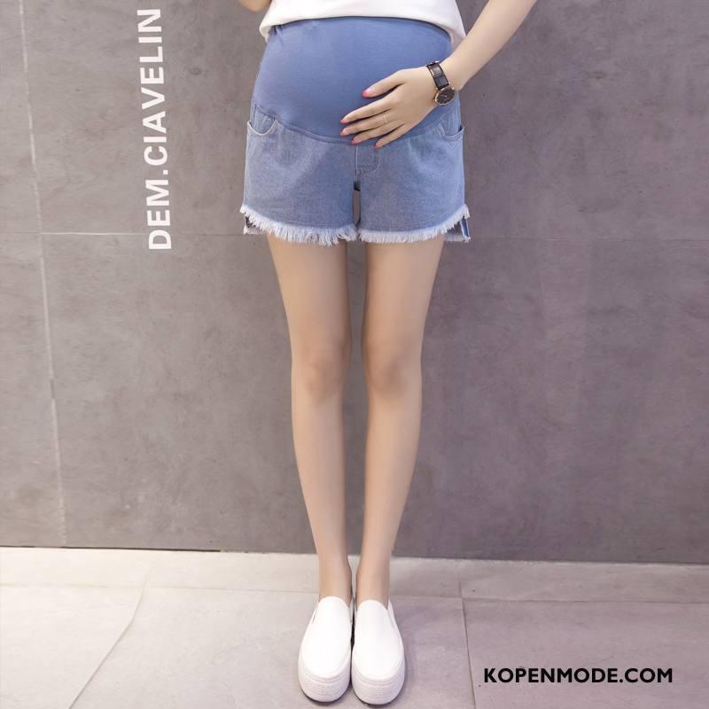 Zwangerschapskleding Dames Dunne Mode Kort 2018 Slim Fit Denim Effen Kleur Blauw