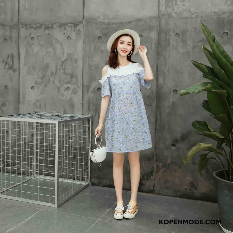 Zwangerschapskleding Dames Mode Zomer Bedrukken Korte Mouw Dunne Elegante Blauw