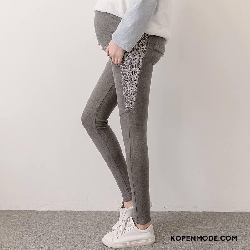 Zwangerschapskleding Dames Zuiver Elegante Verbinding Casual Trend Bloemen Effen Kleur Grijs